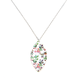 Necklace 1989a 22 No. 3 floral cactus flamingo oval necklace