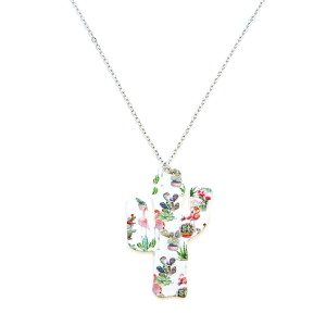 Necklace 1982b 22 No. 3 floral cactus flamingo cactus necklace