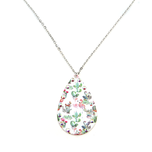 Necklace 1997a 22 No. 3 floral cactus flamingo tear drop necklace