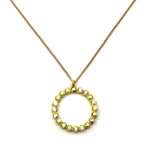 Necklace 289b 22 No. 3 rhinestone hoop necklace yellow