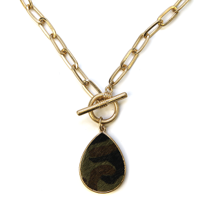Necklace 1146 22 No. 3 chain necklace toggle tear drop camo