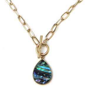Necklace 1141 22 No. 3 chain necklace toggle tear drop abalone