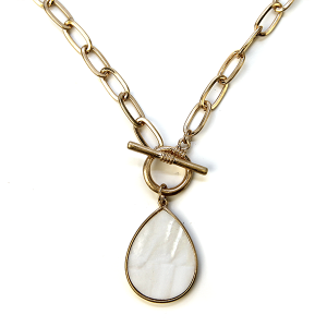 Necklace 1145 22 No. 3 chain necklace toggle tear drop white abalone