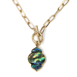 Necklace 1138 22 No. 3 gemoetric chain necklace toggle abalone