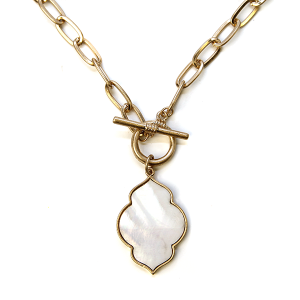 Necklace 1139b 22 No. 3 gemoetric chain necklace toggle white abalone