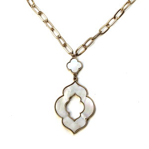 Necklace 1133 22 No. 3 geometric chain necklace white abalone