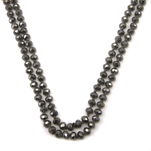 Necklace 732d 30 60 inch bead necklace gray