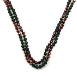 Necklace 687a 22 No. 3 30 60 inch bead necklace dark green bugundy 1 mt1