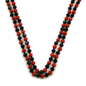 Necklace 1648b 22 No. 3 30 60 inch bead necklace black red