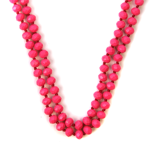 Necklace 391b 22 No. 3 30 60 inch bead necklace neon pink