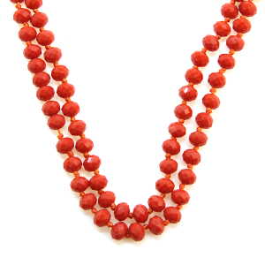 Necklace 259e 22 No. 3 30 60 inch bead necklace orange 112