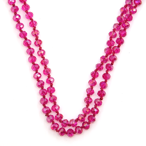 Necklace 1438a 22 No. 3 30-60 inch bead necklace clear fuchsia ab