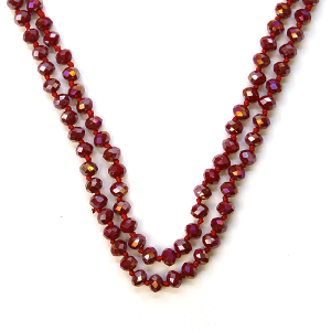 Necklace 1220 22 No. 3 30-60 inch bead necklace red 132ab