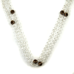 Necklace 278a 22 No. 3 30 60 inch bead necklace leopard accent clear