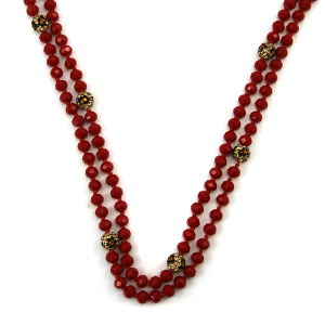 Necklace 365a 22 No. 3 30 60 inch bead necklace leopard accent red