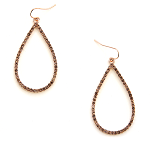 Earring 2095 22 No. 3 tear drop rhinestone earrings rose gold