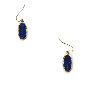 Earring 193a 22 No. 3 Small Hex Raw Stone Druzy earrings gold blue