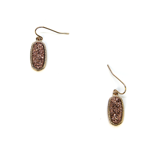 Earring 132a 22 No. 3 Small Hex Raw Stone Druzy earrings gold rose gold