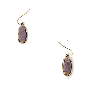 Earring 133d 22 No. 3 Small Hex Raw Stone Druzy earrings gold purple