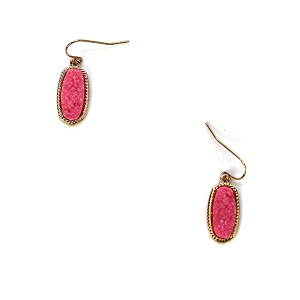 Earring 152i 22 No. 3 Small Hex Raw Stone Druzy earrings gold pink