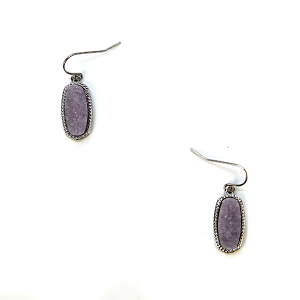 Earring 124b 22 No. 3 Small Hex Raw Stone Druzy earrings silver purple