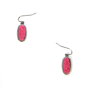 Earring 107f 22 No. 3 Small Hex Raw Stone Druzy earrings silver pink