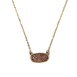 Necklace 1169a 22 No. 3 raw stone druzy necklace rose gold