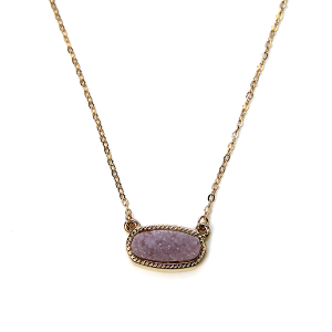 Necklace 1161b 22 No. 3 raw stone druzy necklace lavender