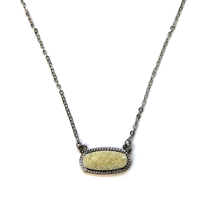 Necklace 1140a 22 No. 3 raw stone druzy necklace ivory