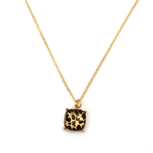 Necklace 610f 22 No. 3 small gem necklace leopard gold