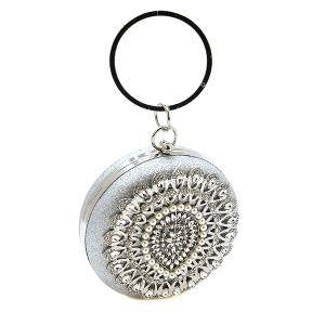 Bella Collection 234-4 round crystal evening bag silver