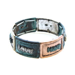Bracelet 110 24 Story By Davinci Hope Faith love patina