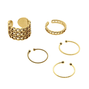 Ring 017 24 Wildflower 5pc chain set gold