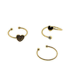 Ring 033 24 Wildflower 3pc heart set gold