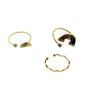 Ring 015 24 Wildflower 3pc rainbow set gold