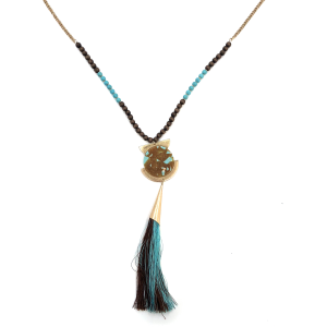 Necklace 1035b 24 Wildflower contemporary bead tassel turquoise brown