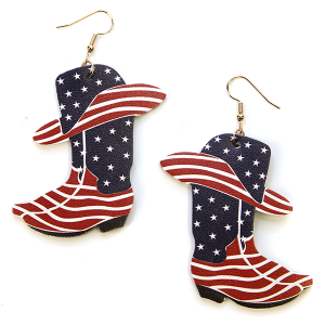 Earring 2897b 24 Wildflower cowboy boots usa america earrings