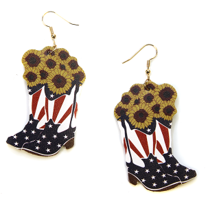 Earring 2898b 24 Wildflower cowboy boots usa america sunflower earrings