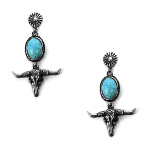 Earring 2885 24 Wildflower longhorn earrings turquoise silver stud