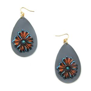 Earring 3266a 24 Wildflower leather tear drop floral earrings gray