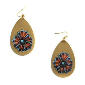 Earring 3182c 24 Wildflower leather tear drop floral earrings brown