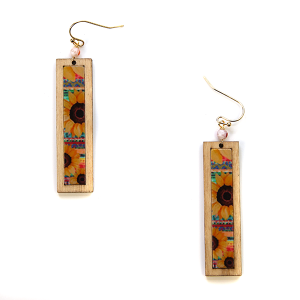 Earring 2896c 24 Wildflower bar sunflower earrings wood