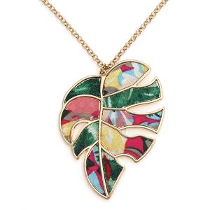 Necklace 1670c 24 Wildflower leaf multi pattern petal necklace multicolor