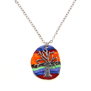 Necklace 1513a 24 Story By Davinci stripe painted tree of life necklace multicolor