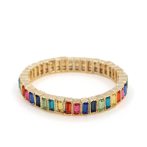 Bracelet 179b 24 Story By Davinci stretch gem bracelet gold multicolor