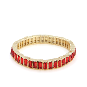 Bracelet 056a 24 Story By Davinci stretch gem bracelet gold red