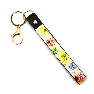 Keychain 081i 24 Wildflower sfloral leather strap keychain