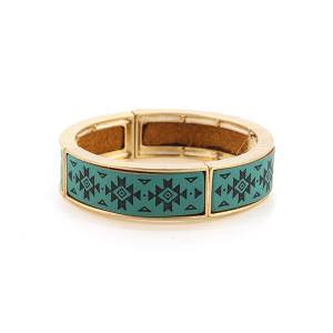 Bracelet 719 25 Tell Your Tale geometric stretch link bangle turquoise