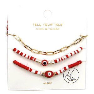 Anklet 015 25 Tell Your Tale 3 set evil eye red