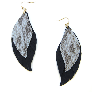 Earring 2347d 25 Tell Your Tale fringe cut feather snake earrings leather navy